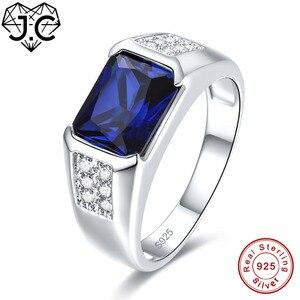 Image 2 - J.C kobiety mężczyźni w stylu Vintage projekt luksusowe niebieski szafir i tanzanit i biały Topaz 925 Sterling srebrny pierścień rozmiar 7 8 9 10 Fine Jewelry
