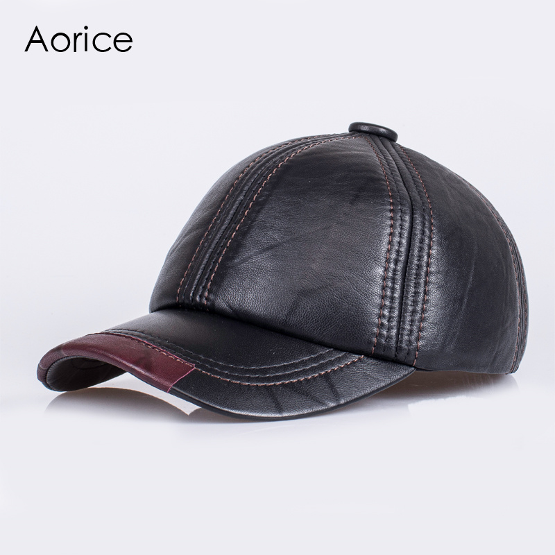 Aorice Fashion Genuine Leather Men Cap Hat Brand New Baseball Cap Fashion Men's Real Leather Solid Adjustable Hats/Caps HL099 aorice genuine leather baseball cap men hats and caps solid color brown black leather leisure fashion travel biker hl187