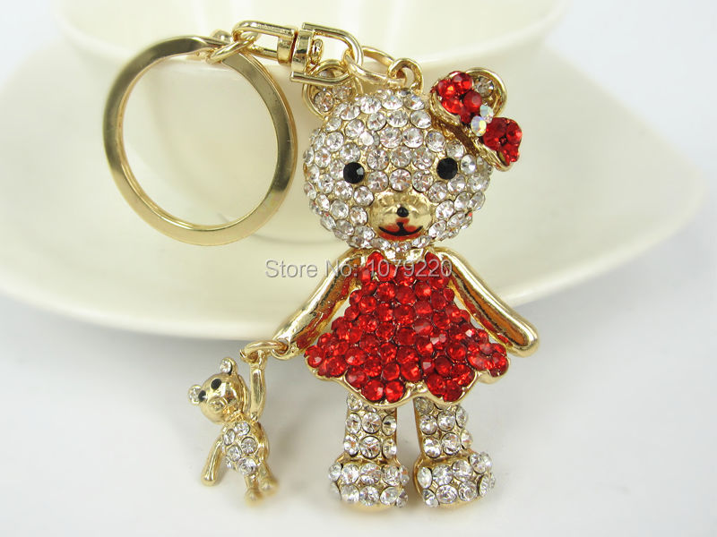 R Hand Bear Keyring Cute Rhinestone Crystal Charm Pendant Car Key Bag Chain Gift New Fashion Free shipping