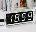 Free Shipping White 1.31 inch 4 Bits Digital DIY kit LED Electronic Clock Microcontroller LED Digital Clock Time Thermometer MCU