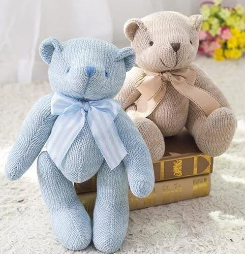 28cm New High Quality Bowknot Plush Toys Knitting Teddy Bear Doll