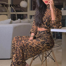 Tosheiny 2019 Women Sexy High Neck Long Sleeve Leopard Two Pcs Set Female Playsuit