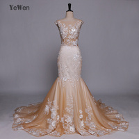 Champagne Romantic Scoop Neck Backless Princess Mermaid Wedding Dress 2018 YeWen Lace Appliques Robe De Mariage Bride Gowns
