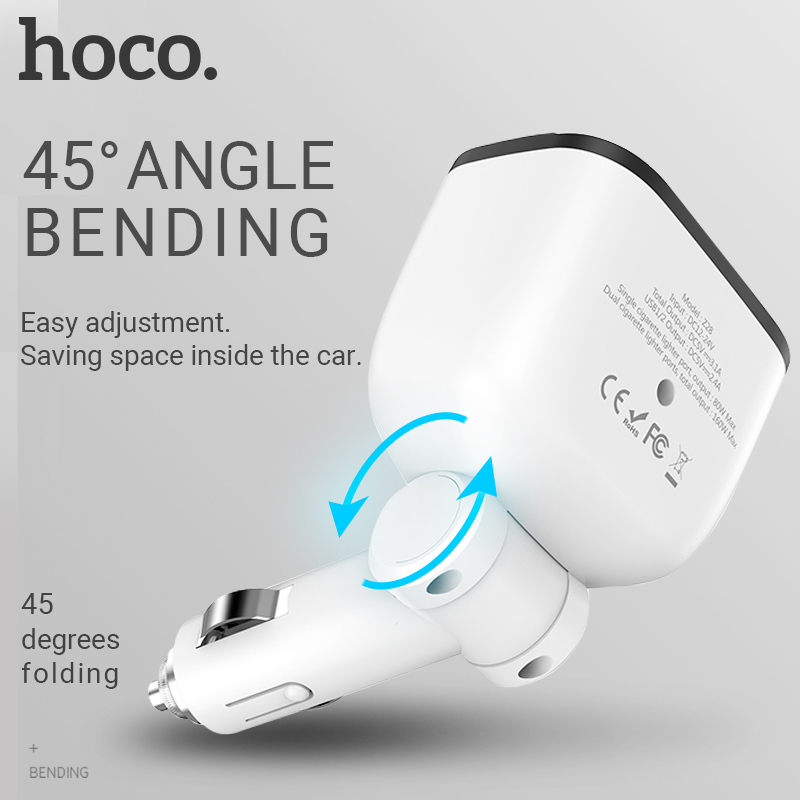 hoco dual cigarette lighter adapter dual usb a port car charger splitter 12v 24v car lighter for iphone samsung xiaomi android in Car Chargers from Cellphones Telecommunications