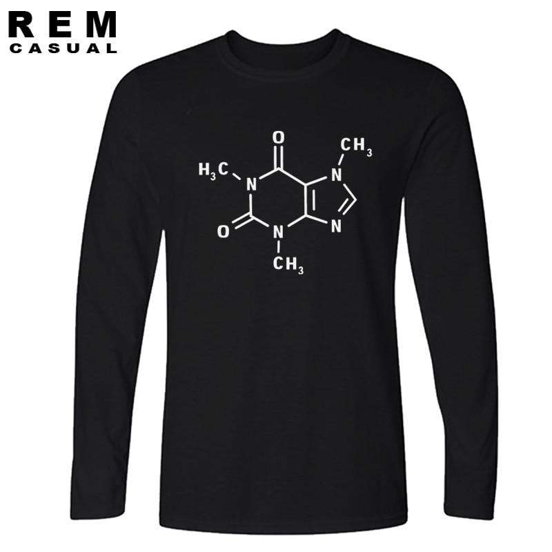 Hanhent The Big Bang Theory Long sleeve T-shirt Men Caffeine Molecular Formula Tee Shirt Novelty Swag Cotton Leonard T shirt