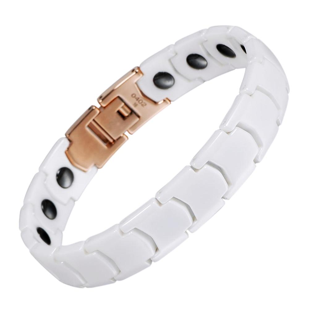 Wollet Jewelry Couple White Ceramic Bracelet Korea Design Healing Energy Germanium Hematite Magnetic Bracelet For Men Women