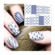 YWK 1 Sheet Water Transfer Nails Art Sticker Navy Styles Dolphin Design Girl and Women Manicure tools Nail Wraps #150