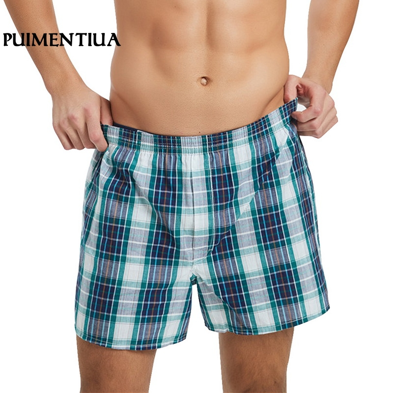 Puimentiua Men's Plaid Soft Cotton Classic Shorts Summer Male Beach Loose Striped Casual Bedroom Homewear Workout Bottom