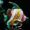 Fish Crystals Jewelry Jewel Trinket Gift Box Fish Enamel Keepsake Box