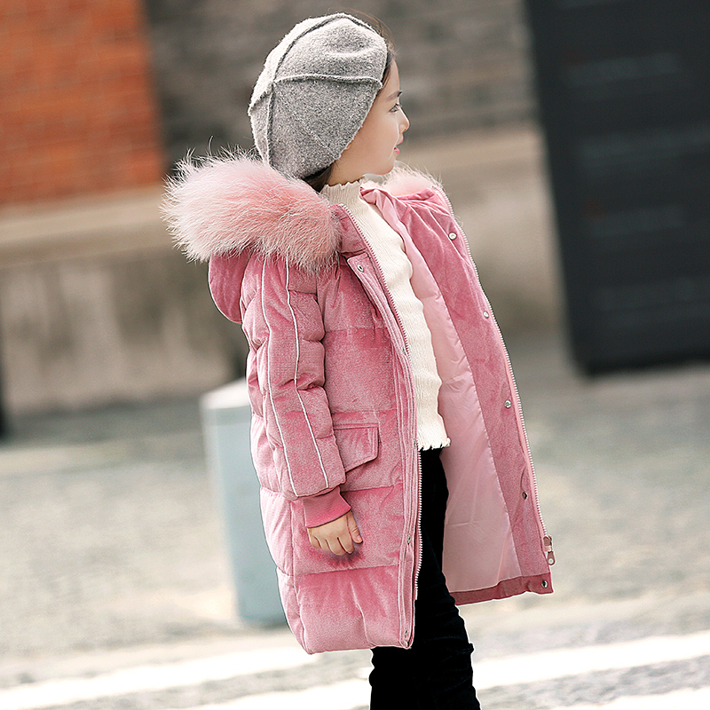 Russian Winter Girls Long Thickened Warm Down & Parkas -30 Children Big Fur Collar Down Snow Jackets Kids Hooded Down Coats цена