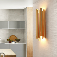 Пост современный Дизайн Брубек Стены Scone светильник для отель/бар/кафе украшение дома моды освещения золото Алюминий трубки