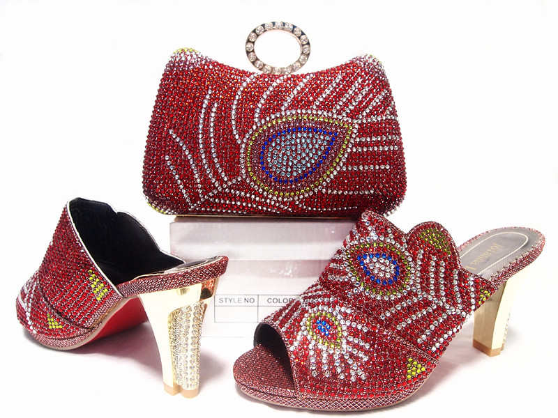 ФОТО  Wine Shoes and Bag To Match Italian High Quality Matching Italian Shoes and Bag Set Summer African Style Shoes and Bag  JA10-6