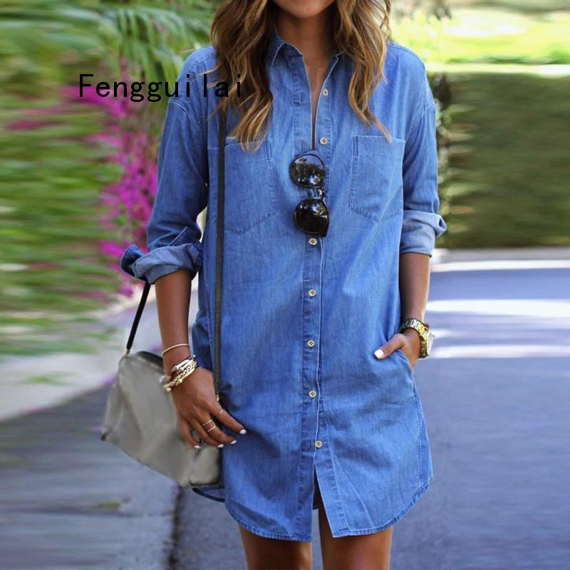 The New 2019 Women Summer Casual Denim <font><b>Dresses</b></font> Pockets Elegant Cowboy Fashion Women Feminino <font><b>Sexy</b></font> Lady Slim Shirt <font><b>Dress</b></font> <font><b>Jeans</b></font> image