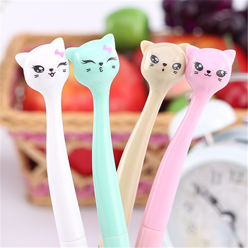 1 Pcs 0.5mm Cute Candy Color Bow Cat Gel Ink Pen Maker Pen School Office Supply Escolar Papelaria