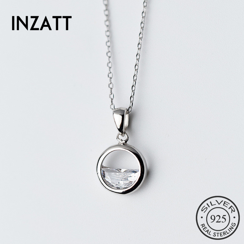 INZATT Minimalist Unique Design Round Crystal Water Spring Pendant Necklace Real 925 Sterling Silver Fashion Jewelry For Women