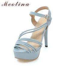 Meotina/Туфли Летние женские босоножки 2017 Платформа, высокий каблук сандалии Большие размеры 42, 43 пикантные туфли на выход сандалии-гладиаторы сине-белые