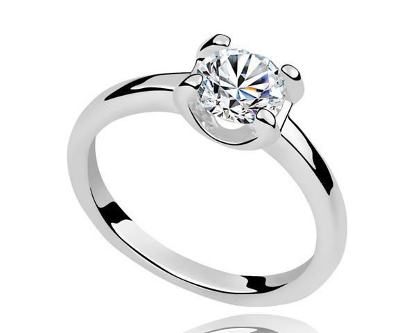 White Cubic Zircon Wedding Engagement Anniversary Ring For Men Women Statement Rings Simple Design Retro