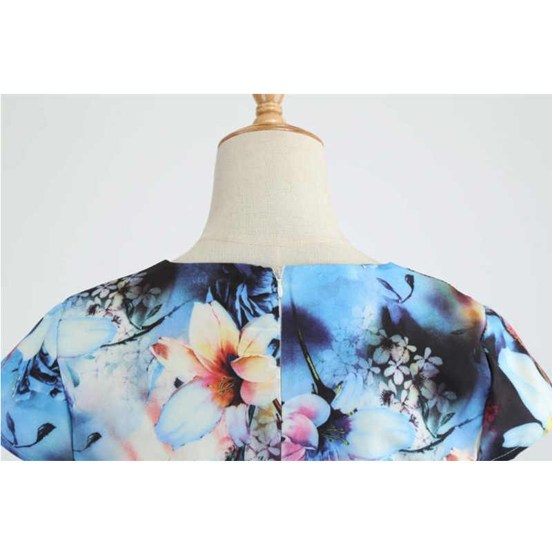 Bebovizi Mulheres Verão 2019 Novo Estilo Curto Plus Size Vestidos Elegantes Da Cópia Da Flor Do Vintage Escritório Casual A-Line Vestido Bandage