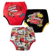 3 шт., водонепроницаемые детские тренировочные штаны с рисунками из мультфильмов, многоразовые тренировочные трусы для туалета, нижнее белье, Bebe, тканевые трусы-подгузники