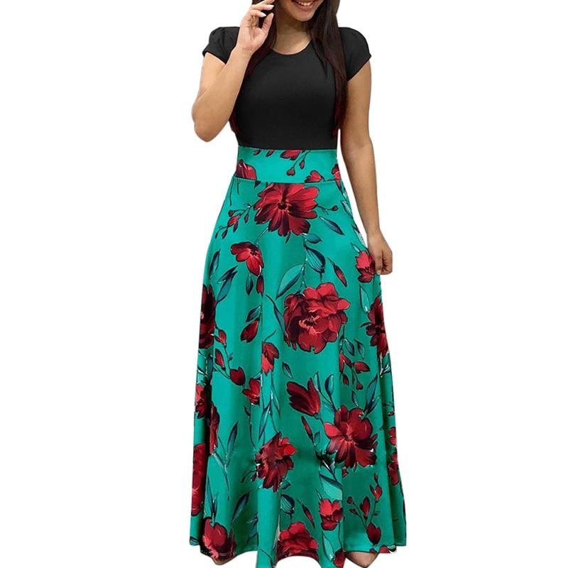1pcs Women Floral Print Maxi Dress O-neck Short Sleeve Evening Party Summer Beach Long Sundress New Arrival