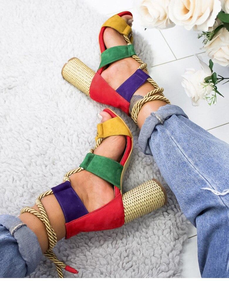 HTB1cVWUaQ9E3KVjSZFGq6A19XXaQ Women Sandals 2019 Women Heels Shoes For Gladiator Sandals Women High Heels Summer Shoes Woman Lace Up Peep Toe Chaussures Femme