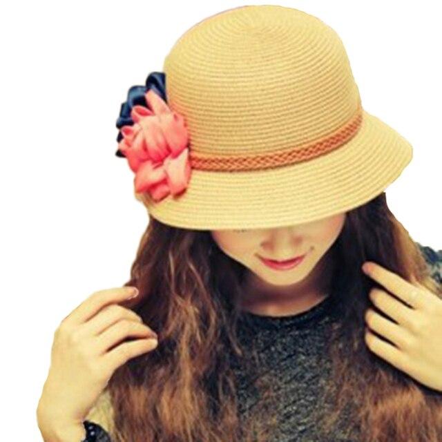 2016 Лучшие Товары Женщины Шляпа Солнца Случайный Стиль Летние Простые Красный цветок Мода Приморский Sunhat Сладкий Флот Переплетения Пляж Открытый женский