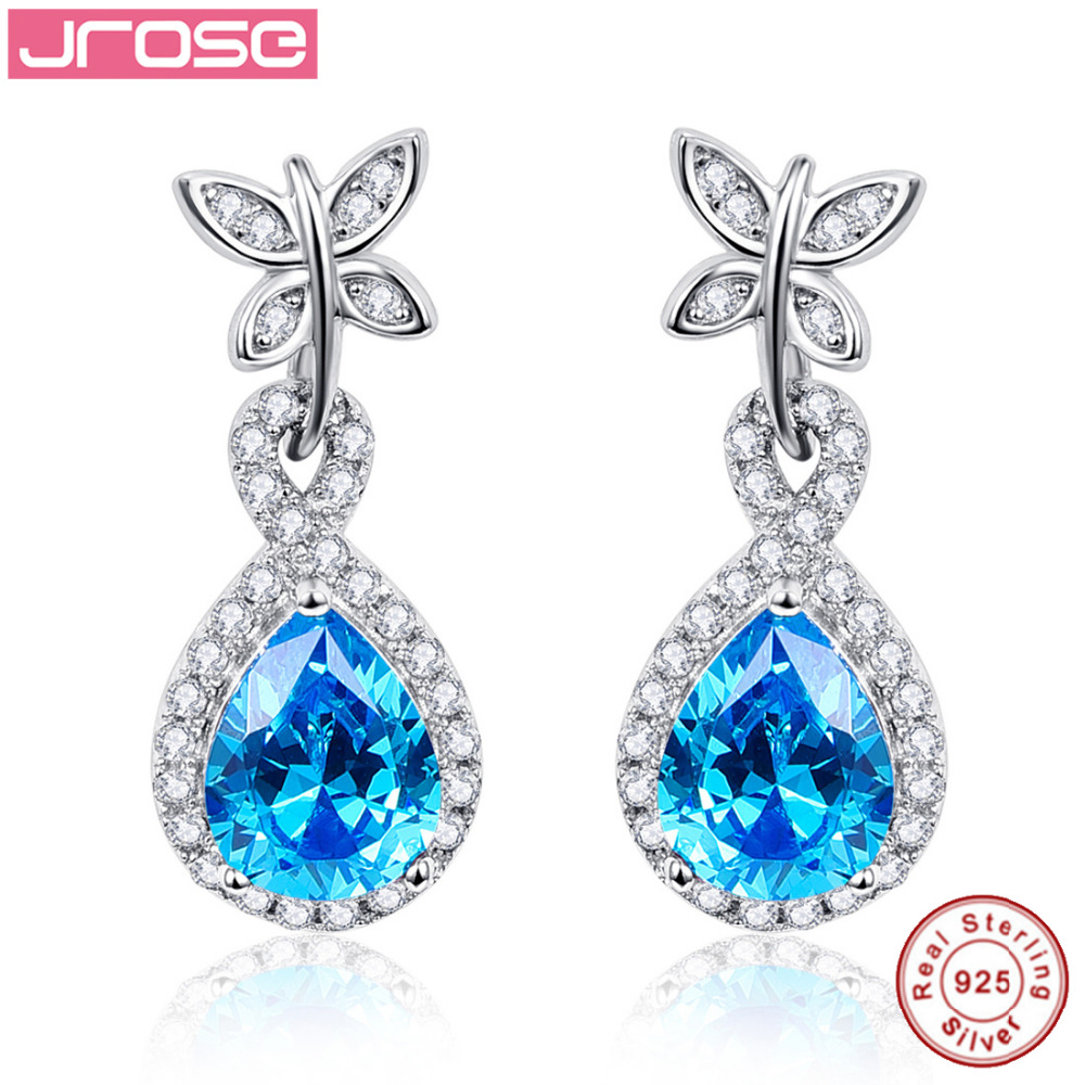 Jrose Luxury Sport Jewelery Gifts 100% Genuine 925 Sterling Silver Drop Earrings Engagement Party Anniversary, Wholesale