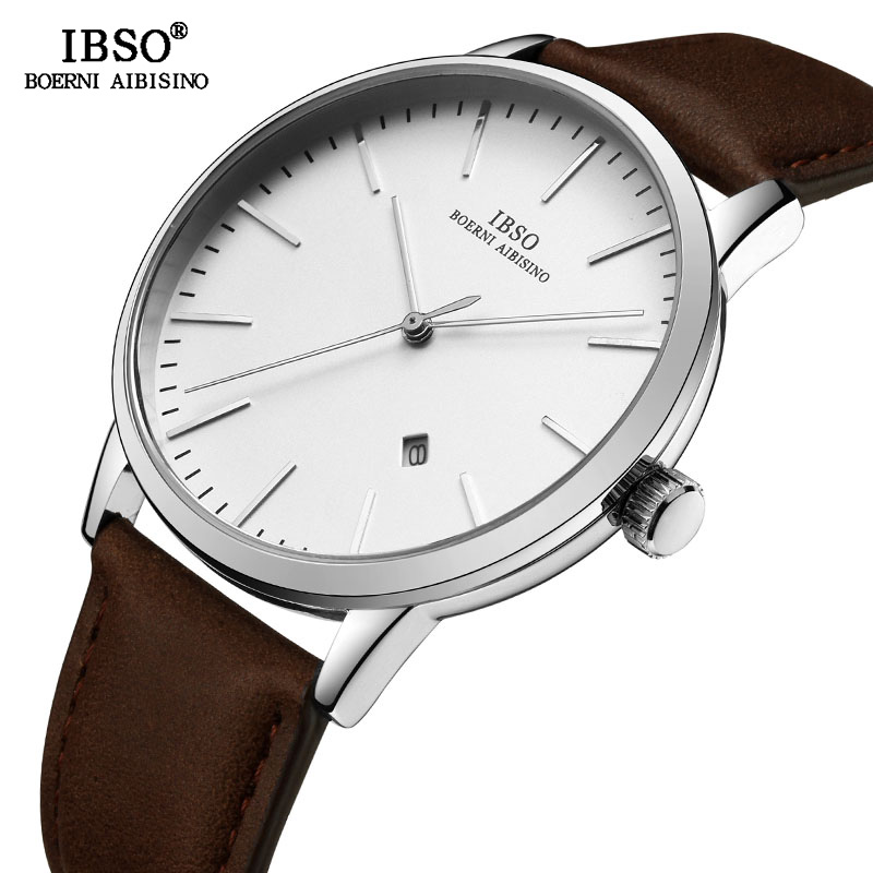 IBSO Brand New Ultra-thin Mens Watches Luxury Reloj Hombre 2018 Genuine Leather Strap Quartz Watch Men Fashion Relogio Masculino цена 2017