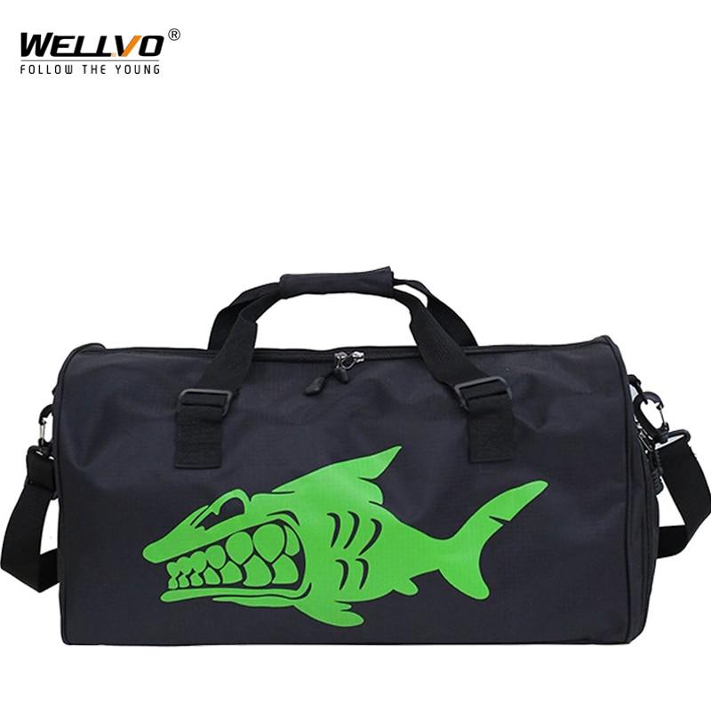 Alligator Travel Duffle Large Nylon Handbag Tote Men Crossbody Luggage Bag Portable Shark Handbags with Shoes pocket XA239WC