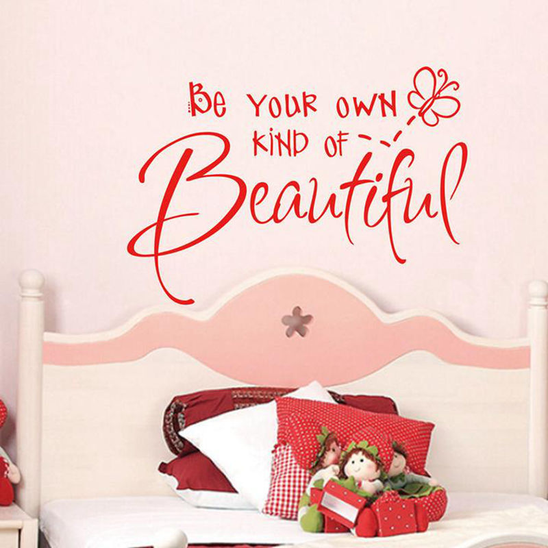 Be Your Own Kind of Beautiful Cut Vinyl Wall Quote Sticker Girls Bedroom Decor Decals