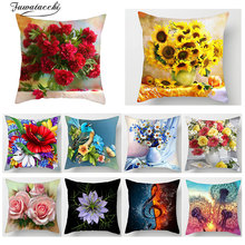 Fuwatacchi Floral Print Cushion Cover Throw pillow Cover Sunflower Rose Dandelion Sofa Home decorative pillows Case kussenhoes цены
