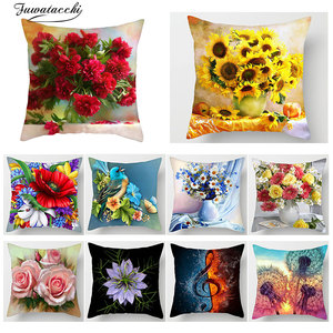Fuwatacchi Floral Print Cushion Cover Throw pillow Cover Sunflower Rose Dandelion Sofa Home decorative pillows Case kussenhoes