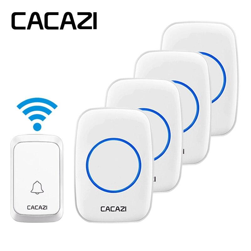 CACAZI Étanche Sans Fil Sonnette LED Lumière Batterie Bouton Accueil Sans Fil Appelant Cloche 300 m Télécommande 1 Bouton + 4 récepteurs