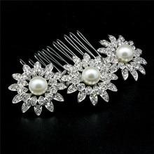 Crystal Wedding Tiara Hair Comb Pearl Bridal Jewelry Accessories Handmade Women Headpiece