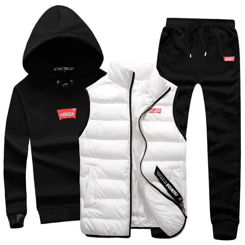 3 in 1 Hoody Sweatshirt Men Pants Vest 3 Piece Warm Fleece Brand Hoodie For Men Set Coat Jogger Sports Suit Hooded Pullover Male