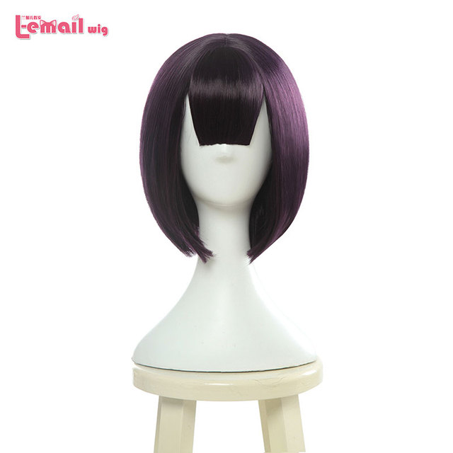 L email wig Fate Grand Order Shuten Douji Cosplay Wigs FGO Cosplay Short Purple Bobo Straight Wig Heat Resistant Synthetic Hair