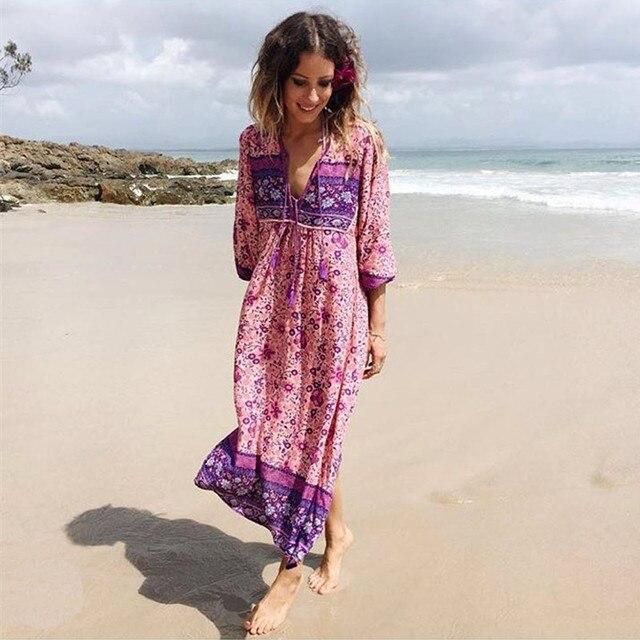 Pink boho dress chic floral print cotton long dess v neck - Style hippie chic femme ...