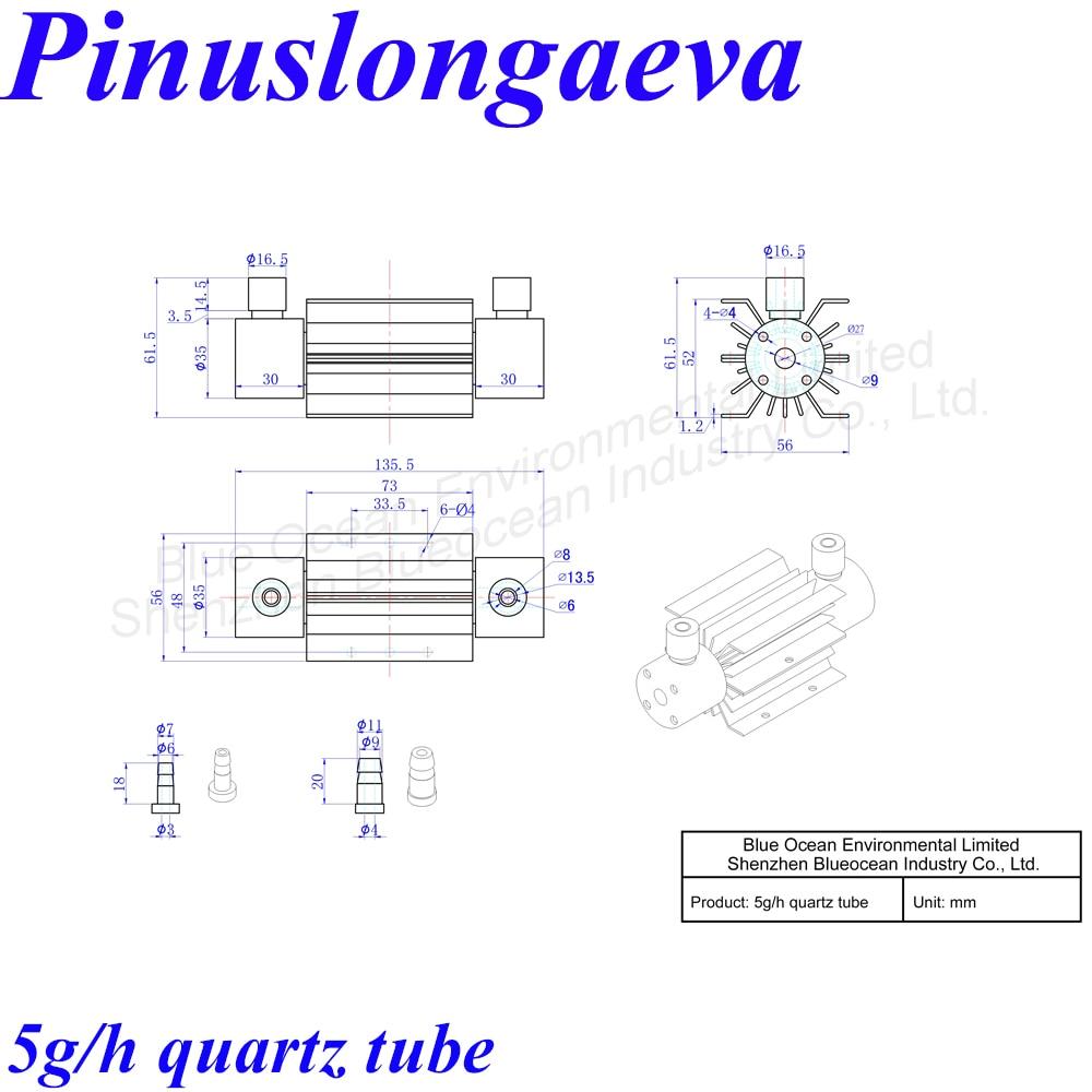 Pinuslongaeva CE EMC LVD FCC Factory outlet 5g/h Quartz tube type ozone generator Ozonizer Air water sterilization deodorization ce emc lvd fcc good quality 10g ozone quartz suite for water purification