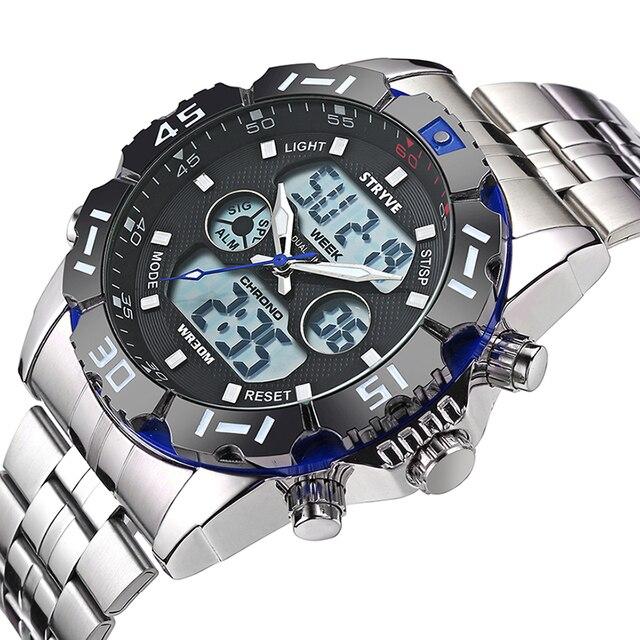 Stryve 8011 Наручные часы водонепроницаемые часы для мужчин светодиодный, аналоговый, цифровой часы мужской армия нержавеющей цифровые часы Relógio Masculino