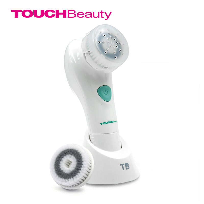 TOUCHBeauty Face Cleansing Brush Oscillating with PBT Brush Head, 2 optional working speeds battery facial brush TB-1487 touchbeauty 3 in1 rotating facial cleansing brush set with 3 replacement brush heads 2 speed settings with storage box tb 0759a