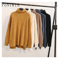 New One size for 65 110kg /143 243lb Elegant knitted sweater Casual women's solid color Large size pullover Female oversize girl