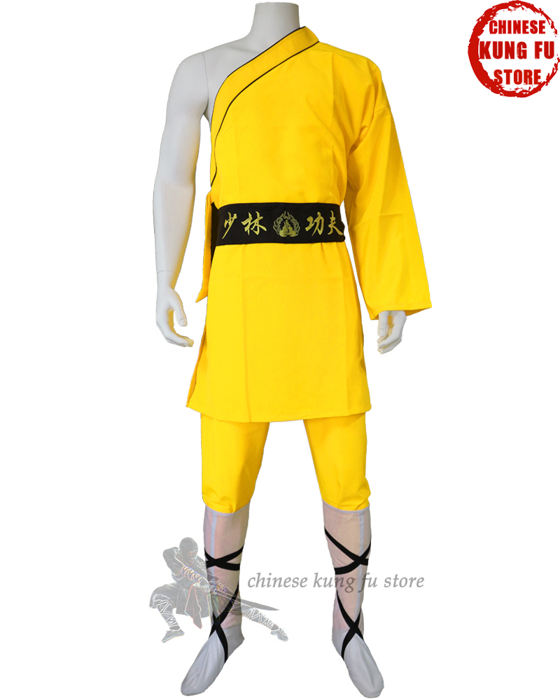 Yellow Color One-sleeve Shaolin Monk Suit Kung Fu Martial Arts Tai Chi Wing Chun Suit For Kids And Adults