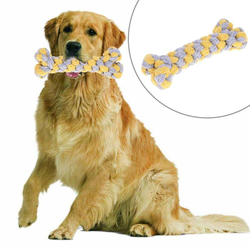 Pet Cotton Rope Dog Toy Molars Chewing Toy Puppy Tooth Cleaning Bone Bite-resistant Teething Toy For Small Medium Large Dogs