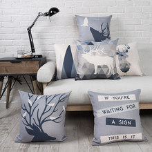 New Cotton Linen Pillow Cover Nordico Style Gemoetric Deer Blue Grey Cushion Cover Home Decorative Pillow Case 45x45cm/55x55cm(China)