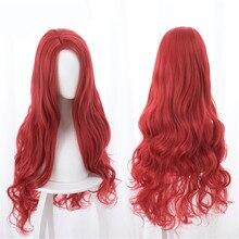 Aquaman Mera Cosplay Peruk Amerikan Anime Film 85cm Uzun Kırmızı Dalgalı Isıya Dayanıklı Sentetik Saç Kostüm Partisi Peruk + peruk Kap
