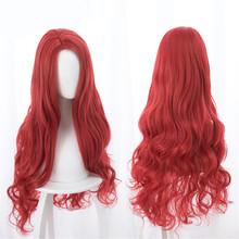 Aquaman Mera Cosplay Wig American Anime Movie 85cm Long Red Wavy Heat Resistant Synthetic Hair Costume Party Wigs + Wig Cap