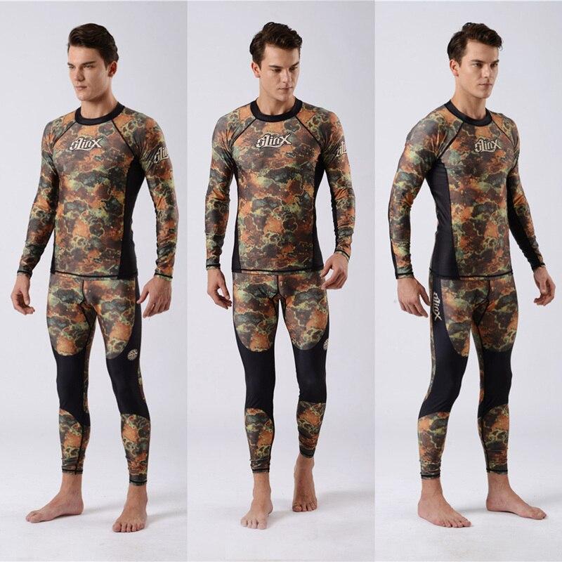 SLINX Mens Rash Guard Swim Shirt Spearfishing Lycra Suit Diving Camo Rashguard Surf Shirts Beach Swim UV Protection Snorkeling