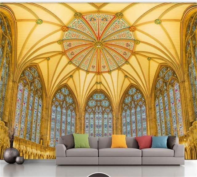 custom photo 3d wallpaper mural non woven church fantasy angel ...