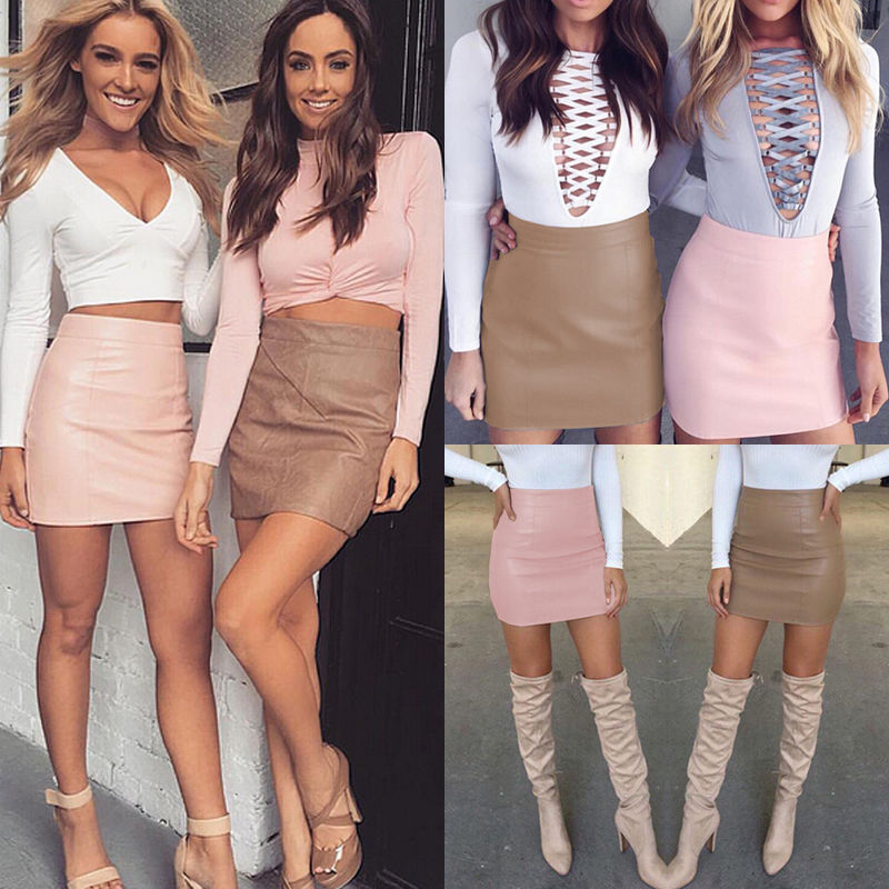 Women Summer Solid Sexy Bandge Leather High Waist Pencil Bodycon Hip Short Mini Skirts
