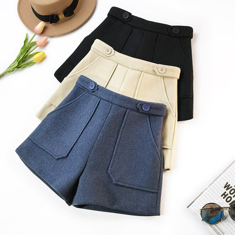 2019 New Autumn High Waist Wool Shorts Women Winter Elegant Wide Leg Short Pants Ladies Office Work Pocket Thick Shorts F193